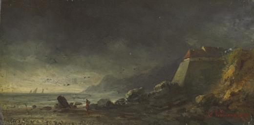A coastal landscape under a da