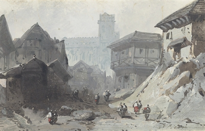 A view of an Alpine town (rect