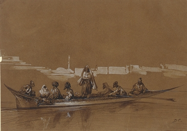 A rowboat with Turkish oarsmen