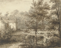 A landscape with a cottage and waterfall; and A sketch of women doing laundry