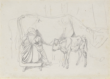 A woman milking a cow