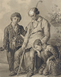 A blind beggar with two young