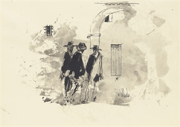 Three men wearing hats standin