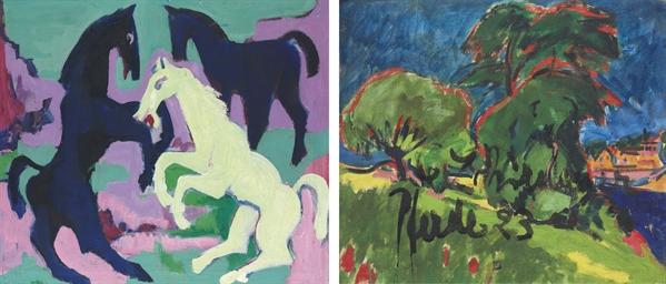 Drei Pferde (recto); Landschaf