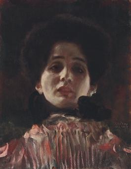 Dame en face mit plisiertem Kleid (Damenbildnis en face)