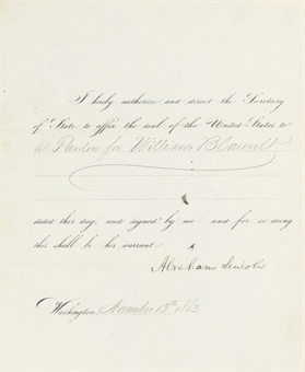 LINCOLN, Abraham. Partly printed document signed (Abraham Lincoln), as President, Washington, D. C., 13 November 1863. 1 page, 4to, name of the pardon recipient accomplished in a clerical hand.