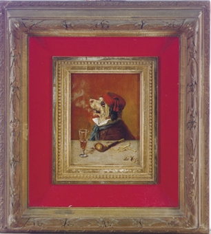 A terrier smoking a pipe; and four companion paintings