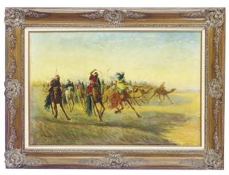 Ascending into battle on camel