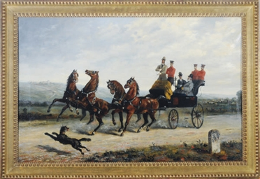 A dog spooking carriage horses