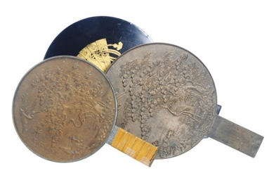 TWO JAPANESE BRONZE MIRRORS WI