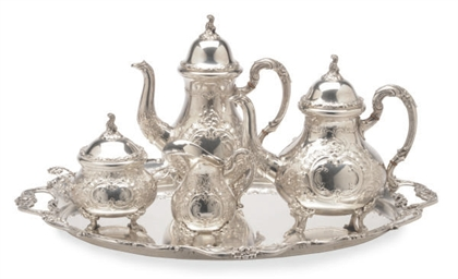 A GERMAN SILVER FOUR PIECE TEA