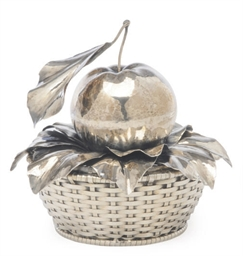 AN ITALIAN SILVER APPLE AND BA