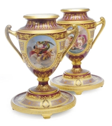 A PAIR OF VIENNA STYLE CLARET