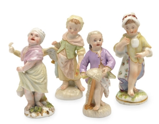 FOUR GERMAN PORCELAIN MINIATUR