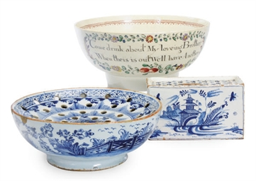 TWO ENGLISH DELFT BOUGH POTS A