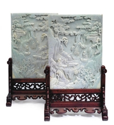 A PAIR OF CHINESE JADEITE TABL