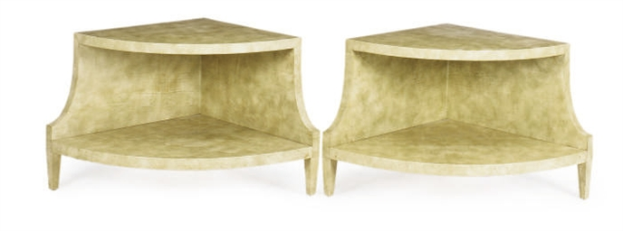 A PAIR OF PARCHMENT TWO-TIER L