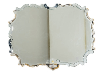A SILVERED-WOOD WALL MIRROR,