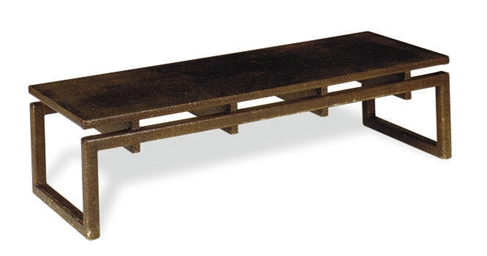 A RAFFIA LOW TABLE,