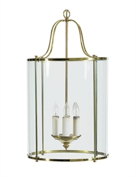 A GILT-METAL AND GLASS LANTERN