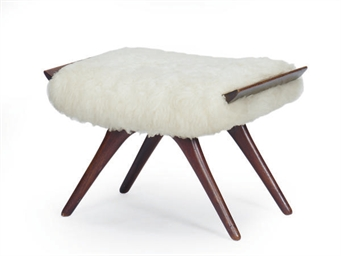 A MAHOGANY AND WOOL STOOL,