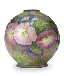A FRENCH ENAMELED VASE,