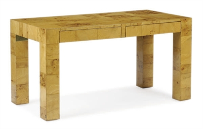 AN OLIVE WOOD WRITING TABLE,