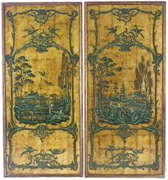 A PAIR OF GILT AND OIL PAINT M