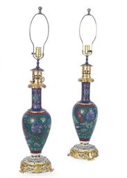 A PAIR OF CLOISONNE OIL LAMPS,