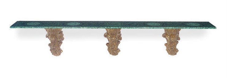 A GILTWOOD AND MALACHITE CONSO