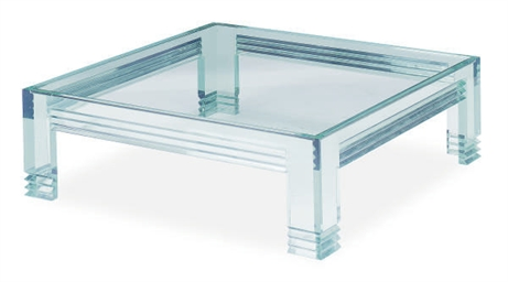 A SQUARE GLASS LOW TABLE,