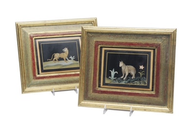 FOUR FRAMED PIETRA DURA PANELS