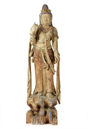 A PAINTED WOOD FIGURE OF GYUAN
