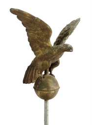 A MOLDED AND GILT COPPER EAGLE