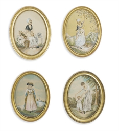 A GROUP OF FOUR REGENCY SILK N