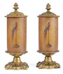 A PAIR OF ENAMELED AND GILT-ME