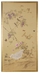 THREE FRAMED JAPANESE WALLPAPE