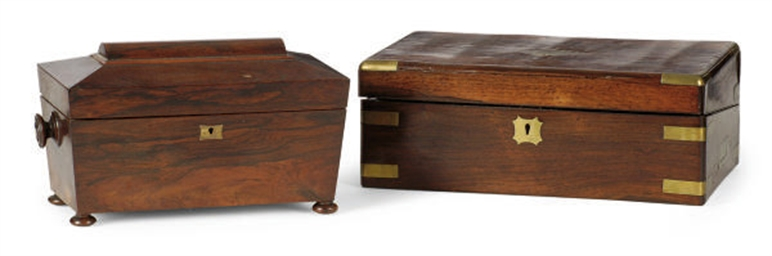 A REGENCY ROSEWOOD TEA CADDY**