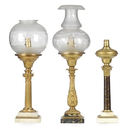 THREE CLASSICAL FLUID LAMPS,