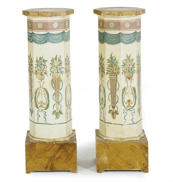 A PAIR OF POLYCHROME-PAINTED P