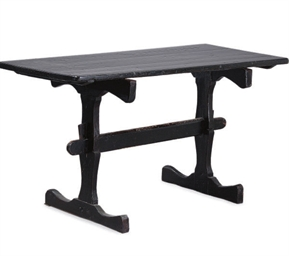 A BLACK PAINTED PINE TRESTLE T