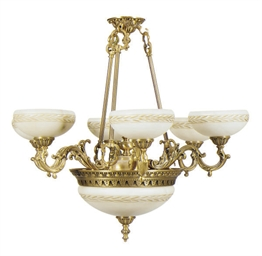 A GILT-METAL AND ALABASTER SIX