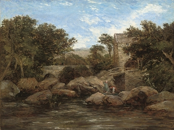 Figures by a river, a mill bey