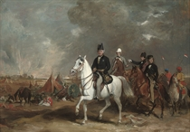 The Viscount Hardinge, Governor-General of India accompanied by his two sons and Colonel Wood on the battle field of Ferozedshah