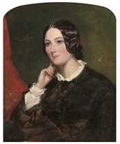 Portrait of a young lady, half-length, in a black dress with white collar and cuffs