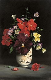 A pansy, geraniums, limnathes