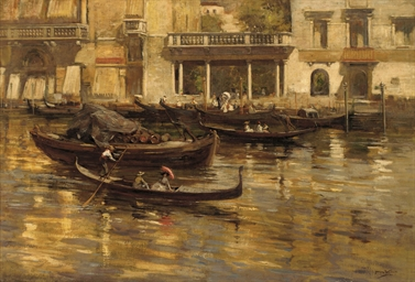 Gondoliers and elegant figures