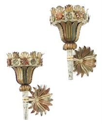 A PAIR OF FRENCH TOLE-PEINTE W