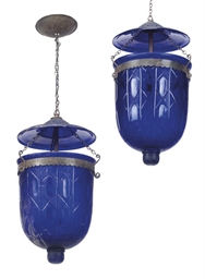 A PAIR OF INDIAN BLUE GLASS CE