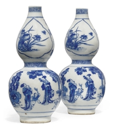 A CHINESE PAIR OF BLUE AND WHI